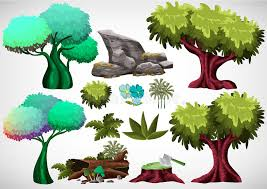 set of colored tree for use in the and animation