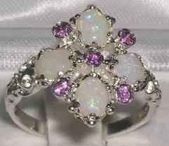 opal stone rings images Sterling silver amethyst opal 9 stone ring silver rings gold jpg