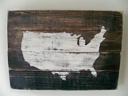 usa map wood wall hanging on staincustomizable with