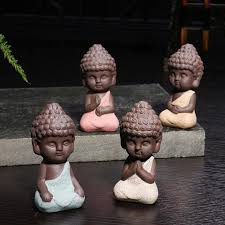 Home Decor Buddha by Handpainted Ceramic Little Buddha Figurine