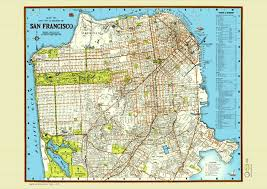 Map Of San Francisco Area by San Francisco 1940 Map Poster Vintage Street Golden Gate
