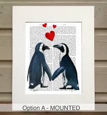 Penguin Home Decor Penguin Print Valentines Gift By Fabfunky Home Decor
