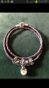 black leather charm bracelet images Pandora pink double leather bracelet with pretty pearl dangle and jpg
