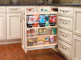 Kitchen Cabinets Slide Out Shelves Slide Out Pantry Cabinet Made Of Wood In Light Brown Finished