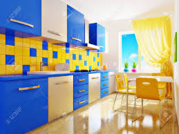 blue and yellow decor modern interior kitchen with blue and yellow furniture stock photo