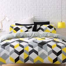 Yellow And White Duvet Black Yellow Grey White Geometric Queen Bed Quilt Doona Cover Set
