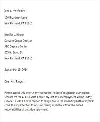 childcare resignation letter resignation letter should be written
