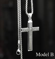 mens necklace with cross images Titanium stainless steel cross pendant necklaces for men jpg