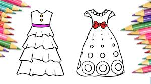 how to draw dress coloring pages for kids drawing art colors wiht