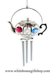 wind chimes or ornament silver kettle with wind chimes