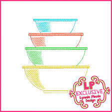 Free Kitchen Embroidery Designs Colorwork Vintage Kitchen Bowls 5 Embroidery Design 4x4 5x7 6x10