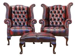 High Back Wing Armchairs 2 X Chesterfield Buttoned Seat Queen Anne High Back Wing Chairs