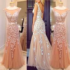 champagne mermaid prom dresses with white lace appliques cap