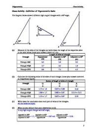 class activity introduction to the trigonometric ratios geometry