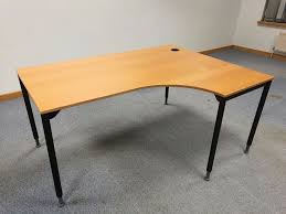 ikea galant right hand curved office desk table with adjustable