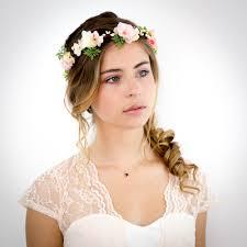 fleurs cheveux mariage couronne de fleurs pêche et ivoire appoline accessoire