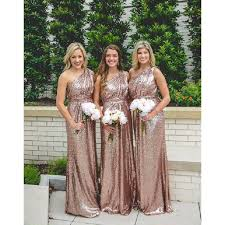 gold bridesmaid dresses gorgeous one shoulder sequined gold bridesmaid dress