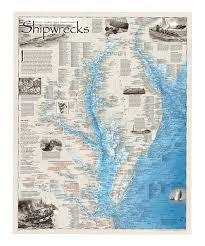 Ocean City Map Shipwrecks Of The Delmarva Laminated Map National Geographic And