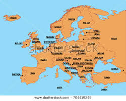 europe map by country europe simple map country names stock vector 704419249