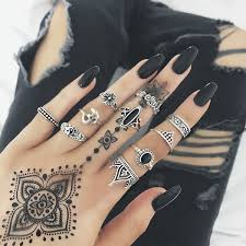 midi rings set 10pcs set vintage women rune finger knuckle ring carved midi rings