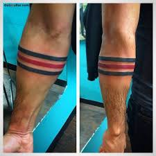 cool men show lower armband tattoo made with red ink goluputtar com