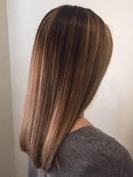 long same length hair balayage highlights on straight one length hair by stephanie