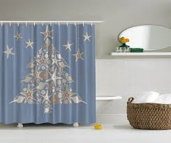 Shower Curtain Amazon Com Blue White Seashell Beach Christmas Holiday Tree