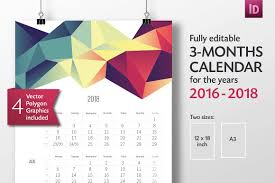 Calendar 2018 Ai Template 3 Months Calendar Template 2016 2018 Templates Creative Market