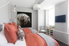 grey and coral bedroom with small space arrangement and paint