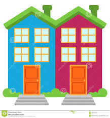 vector image of two brightly colored semi detached houses royalty vector