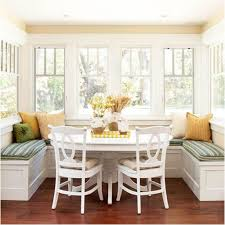 kitchen white wooden breakfast nook table with storage bench and