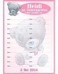 register for baby shower teddy pink attendance register