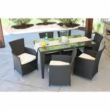 7pc Patio Dining Set Meldecco 7pc Outdoor Black Wicker Patio Dining Set Wicker Table