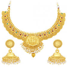 gold plated necklace set images Sukkhi cluster laxmi coin temple gold plated necklace set for jpg