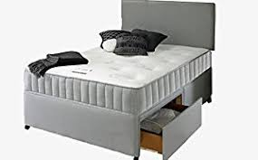 Single Divan Bed With Drawers And Mattress by Grey Fabric Divan Bed With Memory Foam Mattress Headboard And 2