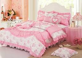 Pink Bedding Sets Pink Girls Lace Princess Bowtie Ruffled Bedding Girls Bedding Sets