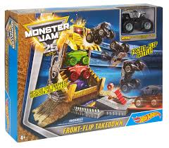 monster truck show video amazon com wheels monster jam front flip takedown playset