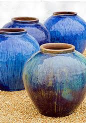 glazed ceramic pots large blue pots in landscape ceramic glazed pottery rustic