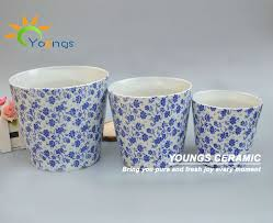 wholesale outdoor elegant blue and white ceramic planter pots with
