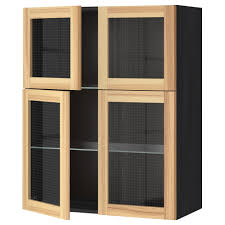 Kitchen Wall Cabinet Sizes Metod Wall Cabinet W Shelves 4 Glass Drs Black Torhamn Ash 80x100