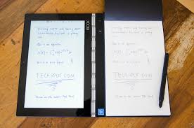 paper writing tablet lenovo yoga book review stylus input and software issues techspot the yoga book s touch slate lenovo calls it the create pad also supports another feature digitizing physical notes as you write them