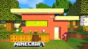 minecraft how to build a small modern house pink house youtube