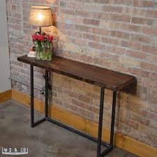 narrow metal console table lovely metal console table with console table 48 reclaimed wood with