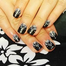 14 black and white acrylic nail designs black and white tribal
