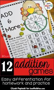 Thanksgiving Game Ideas For Adults Fall Thanksgiving Activities Differentiated Addition Games For