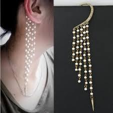 earing styles bohemian style pearls tassel unilateral earring