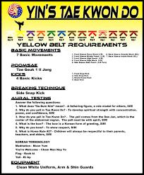 belt requirements u2013 yin u0027s tae kwon do
