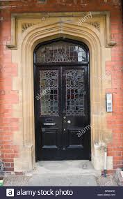 victorian paneled and glazed black painted gothic style front door
