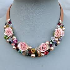 swarovski beaded necklace images Pink fabric roses swarovski crystal bead necklace couture leather jpg