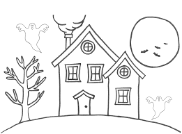 haunted house coloring page for kids download 7872